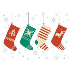 christmas stockings background cartoon vector image