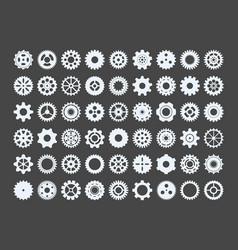 cogwheels large set metal snowflakes industrial vector image