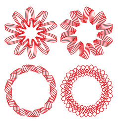 collection of circle design elements red outline vector image