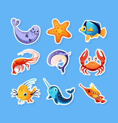 collection stickers with cute friendly sea vector image