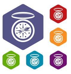 Compass icons set hexagon vector