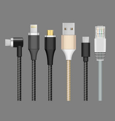 connector realistic cable plug for devices vector image