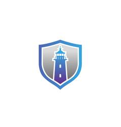 creative abstract lighthouse shield logo design vector image