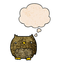Cute cartoon owl and thought bubble in grunge vector