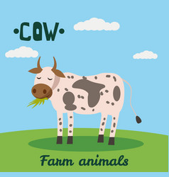 cute caw farm animal character farm animals vector image