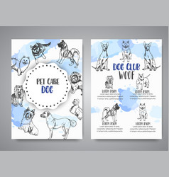 Dog club poster with hand drawn dogs breeds vector