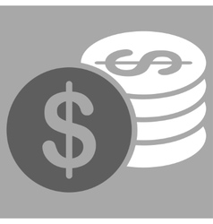 Dollar Coins icon from Business Bicolor Set vector image