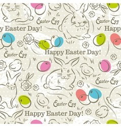 Easter Pattern and rabbits and eggs vector
