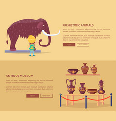 Exhibition of prehistoric animals and greek vases vector