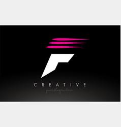 F white and pink swoosh letter logo letter design vector