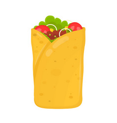 fast food concept burrito flat vector image