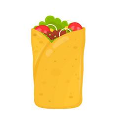 Fast food concept burrito flat vector