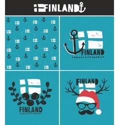 Finland collection labels vector