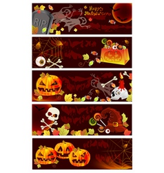 Five Halloween card set vector image vector image