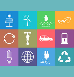 flat design icons set sustainable energy and vector image