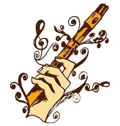 Flute in hand vector