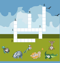 Funny animals crossword for kids vector