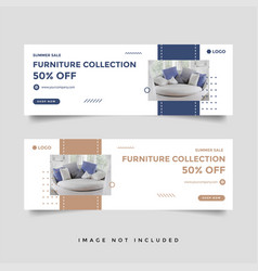 Furniture sale facebook cover banner ad template vector