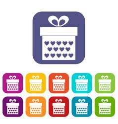 Gift box with ribbon bow icons set flat vector