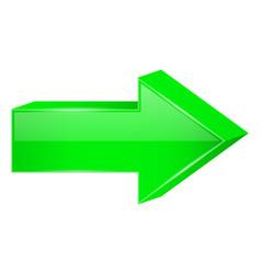 Green arrow 3d next icon vector