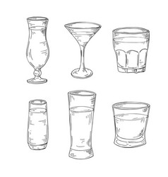 hand drawn alcohol drink sketch cocktail for bar vector image