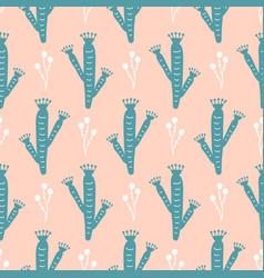 Hand drawn wild cactus flowers seamless pattern vector