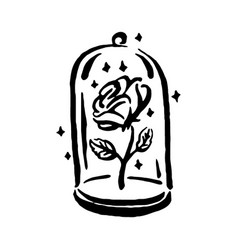 hand drawn witch and magic item rose in a vector image