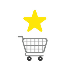 icon concept of star symbol with shopping cart vector image