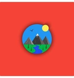 Landscape logo cartoon minimalistic vector