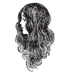 Long hair of a female vintage vector
