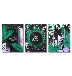 Luxury cards collection with frames and tropical vector