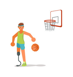 Male disabled young sportsman playing basketball vector