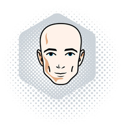man face human head character handsome bald male vector image