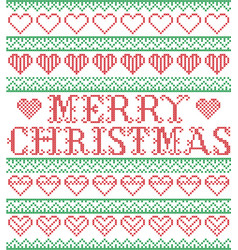 merry christmas nordic hearts pattern vector image