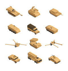 Military vehicles isometric icon set vector
