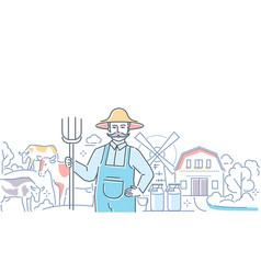 milk farm - colorful line design style vector image