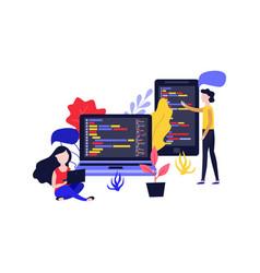 mobile apps development girl woman laptop vector image