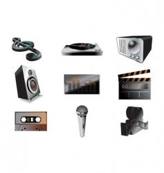 music audio icon set vector image