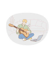 music playing guitar concept vector image