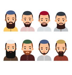 muslim avatar set muslim or arab man avatars vector image