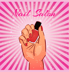 nail salon vintage background with female vector image