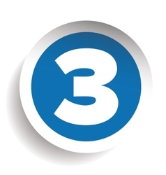 Number Three sticker blue vector