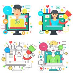 online video blog design square concepts set vector image