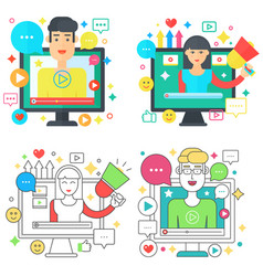 online video blog design square concepts set with vector image
