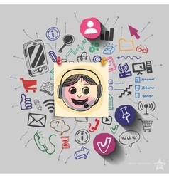 Operator and collage with web icons background vector image