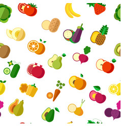 organic vegetarian food vegetables and fruits vector image