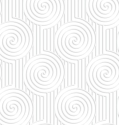 Paper white spirals on continues lines vector