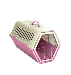 Pet kannel pink cat carrier vector