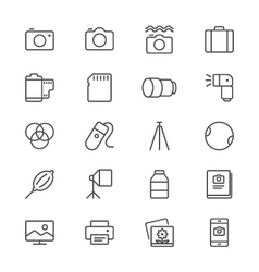 Photography thin icons vector image