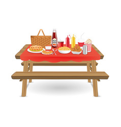 picnic wood table with fast food and drink vector image